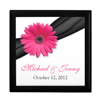 Pink Gerber Daisy Black Personalized Jewelry Box