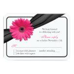 Pink Gerber Daisy Black Ribbon Wedding RSVP