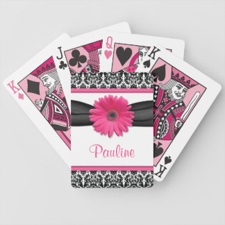 Pink Gerber Daisy Black White Damask Personalized Bicycle Playing Cards