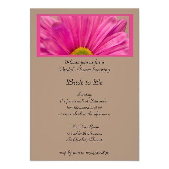 Pink Gerber Daisy Flower Bridal Shower Invitation