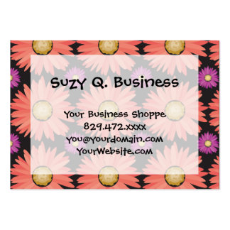 Pink Gerber Daisy Flowers on Black Floral Pattern Large Business Cards (Pack Of 100)