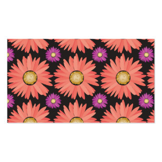 Pink Gerber Daisy Flowers on Black Floral Pattern Double-Sided Standard Business Cards (Pack Of 100)