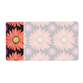 Pink Gerber Daisy Flowers on Black Floral Pattern Shipping Label
