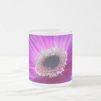Pink Gerber Daisy Frosted Glass Mug