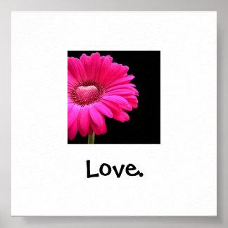Pink Gerber Daisy LOVE poster