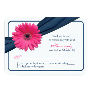 Pink Gerber Daisy Navy Blue Ribbon Wedding RSVP Card