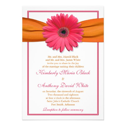Pink Gerber Daisy Orange Ribbon Wedding Invitation