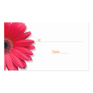 Pink Gerber Daisy Orange Ribbon Wedding Place Card Business Card Template