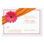 Pink Gerber Daisy Orange Ribbon Wedding RSVP Card Invite
