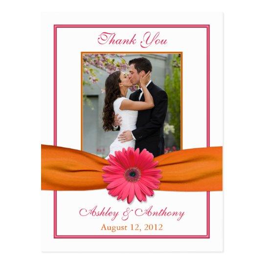 Pink Gerber Daisy Orange Ribbon Wedding Thank You