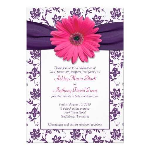 Pink Gerber Daisy Purple Damask Wedding Invitation