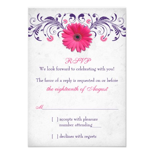 Pink Gerber Daisy Purple Grey Floral Wedding RSVP Personalized Invites