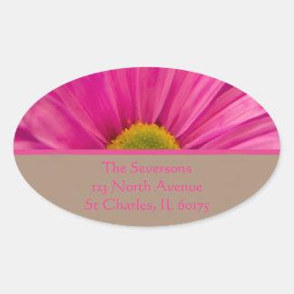 Pink Gerber Daisy Return Address Round Sticker