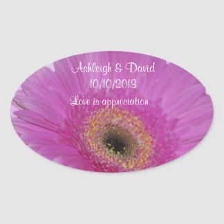 Pink Gerber Daisy Save the Date Oval Stickers