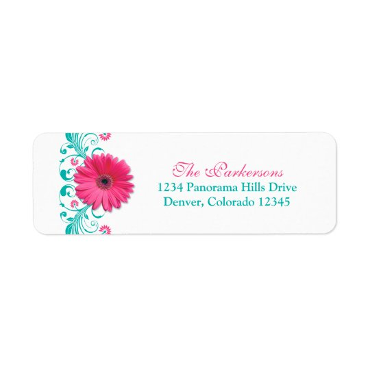 Pink Gerber Daisy Turquoise Floral Wedding Address Return Address Label