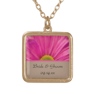 Pink Gerber Daisy Wedding Gold Plated Necklace