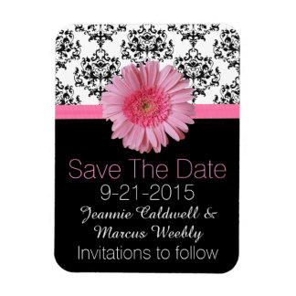 Pink Gerber Daisy Wedding Save the Date Magnet