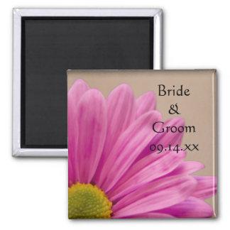 Pink Gerber Daisy Wedding Square Magnet