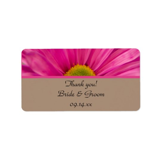 Pink Gerber Daisy Wedding Thank You Favour Tags