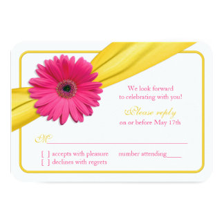 Pink Gerber Daisy Yellow Ribbon Wedding RSVP Card