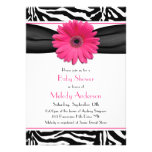 Pink Gerber Daisy Zebra Print Girl Baby Shower Personalized Invitation