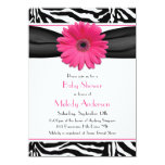Pink Gerber Daisy Zebra Print Girl Baby Shower Personalized Invitation
