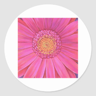 Pink Gerber Flower Painting - Multi Round Stickers