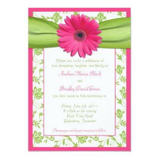 Pink Gerber Green Floral Damask Wedding Invitation