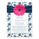 Pink Gerber Navy Damask Bridal Shower Invitation
