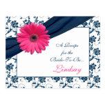 Pink Gerber Navy Damask Recipe Card for the Bride Postcard