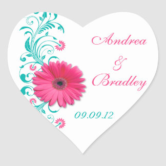 Pink Gerber Turquoise Floral Wedding Envelope Seal Heart Sticker