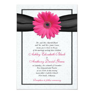 Pink Gerbera Black Ribbon Wedding Invitation