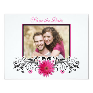 Pink Gerbera Black White Floral Save the Date Card