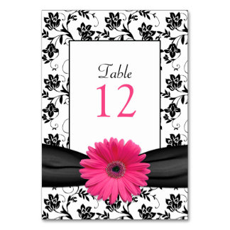 Pink Gerbera Daisy Black Damask Table Number Card