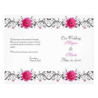 Pink Gerbera Daisy Black Floral Wedding Program 21.5 Cm X 28 Cm Flyer