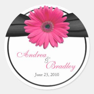 Pink Gerbera Daisy Black Personalized Wedding Round Sticker