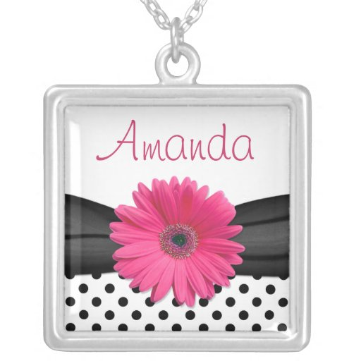 Pink Gerbera Daisy Black Polka Dot Necklace