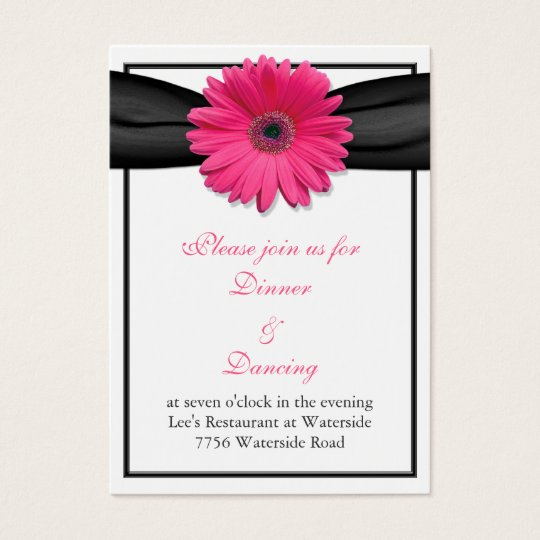 Pink Gerbera Daisy Black Ribbon Reception Card