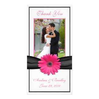 Pink Gerbera Daisy Black Ribbon Wedding Thank You Card