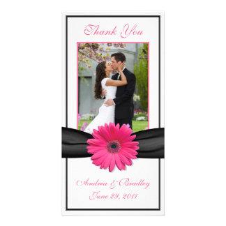 Pink Gerbera Daisy Black Ribbon Wedding Thank You Photo Greeting Card