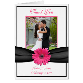 Pink Gerbera Daisy Black Wedding Photo Thank You Card