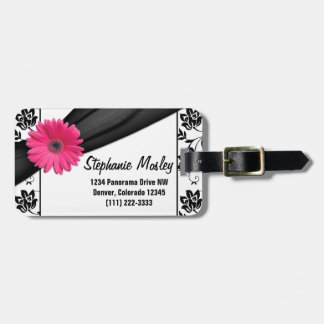 Pink Gerbera Daisy Black White Damask Floral Luggage Tag