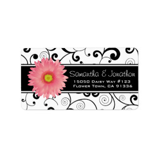 Pink Gerbera Daisy Black & White Scroll Address Label