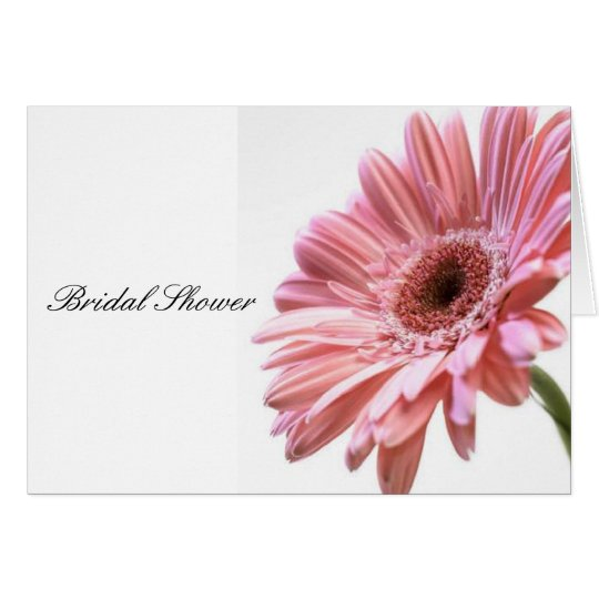 Pink gerbera daisy bridal shower card