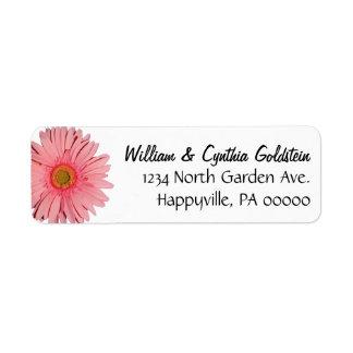 Pink Gerbera Daisy Custom Address Labels