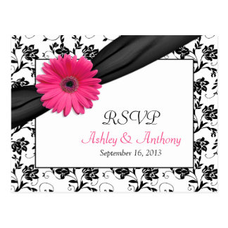 Pink Gerbera Daisy Damask Wedding RSVP Postcard