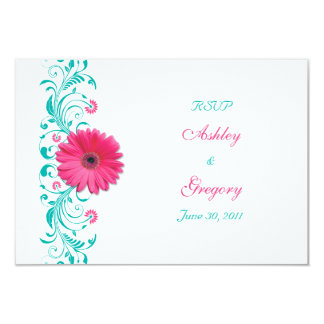 Pink Gerbera Daisy Floral Reply Card 9 Cm X 13 Cm Invitation Card