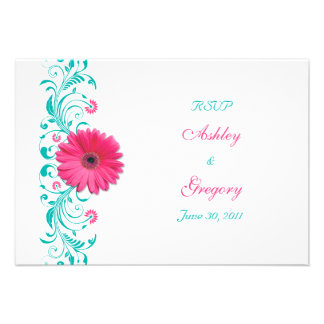 Pink Gerbera Daisy Floral Reply Card Custom Invites
