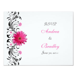 Pink Gerbera Daisy Floral RSVP Reply Card