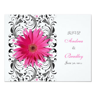 Pink Gerbera Daisy Floral RSVP Reply Card 11 Cm X 14 Cm Invitation Card
